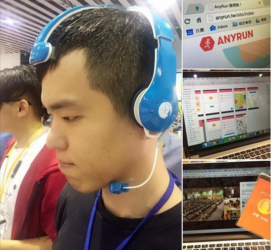 工程師秀秀,透過腦波裝置測試。 photo by YuTin Liu