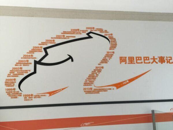 ▲走廊的牆面上記載著阿里巴巴大事記(Yvonne H.拍攝)