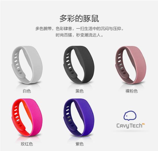▲豚鼠科技的體感手環擁有多款色彩(圖片來源:京東商城)