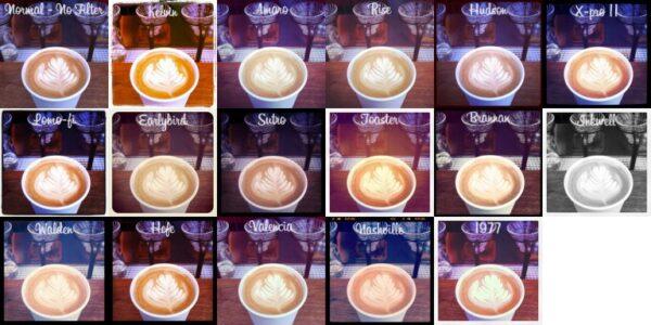 ▲Instagram的各種不同濾鏡 (圖片來源:wikipedia)