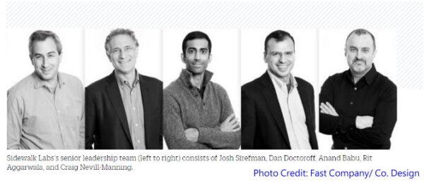 ▲Sidewalk Labs 團隊成員 (圖片來源: Fast Company/ Co. Design官網)
