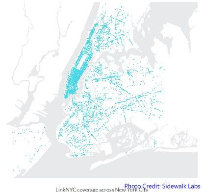 ▲紐約市內kiosk的涵蓋率(圖片來源:Sidewalk Labs官網)